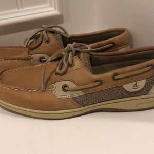 Sperry AWESOME tan leather and fabric shoes